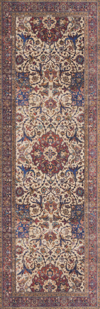 Loren Sand/Multi Rug - Amethyst Home Timeless and classic, the Loren Collection offers vintage hand-knotted looks at an affordable price. Using the most advanced rug-making technology, these printed designs provide a textured effect by portraying every single individual knot on a soft polyester base.