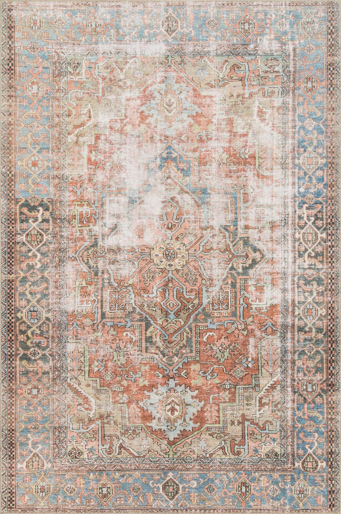 Timeless and classic, the Loren Collection offers vintage hand-knotted looks at an affordable price. Created in Turkey using the most advanced rug-making technology, these printed designs provide a textured effect by portraying every single individual knot on a soft polyester base.  Power Loomed 100% Polyester LQ-15 Terracotta/Sky
