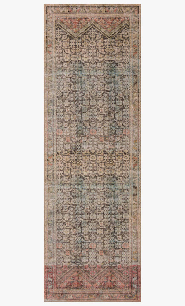 The Loren Charcoal / Multi Area Rug, or LQ17, offers vintage hand-knotted looks at an affordable price. This power loomed rug is perfect for living rooms, dining rooms, or other high traffic areas. These printed designs provide a textured effect by portraying every single individual knot on a soft polyester base.