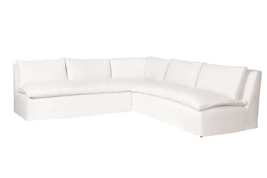 "A casual, slipcovered chunky linen sectional by Cisco Brothers, The Laguna is the ultimate in casual luxury.  A down-filled seat cushion is supported by springs in a gentle, resting position.  Pair with a one-of-a-kind statement rug for a signature look.  Shown in Otis White 100% linen  113""w x 31""h x 113""d Seat Space: 96""w x 96""d x 16""h  Available in Slipcovered and Upholstered. Shown as a Right Arm Facing Sectional."