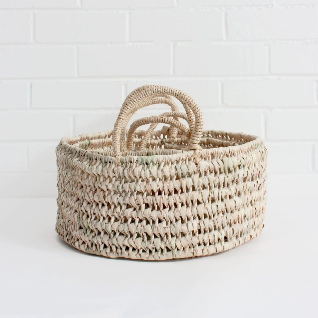 Large Round Open Weave Basket - Amethyst Home