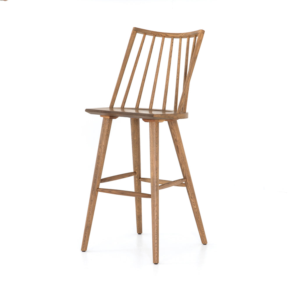 "Lewis Windsor Sandy Oak Bar + Counter StoolThe Lewis Windsor Sandy Oak Bar + Counter Stool is clean and timeless.   Counter Stool: 18.25""w x 20.25""d x 39.25""h Bar Stool: 18.25""w x 20.25""d x 44.25""h  Materials: Iron"