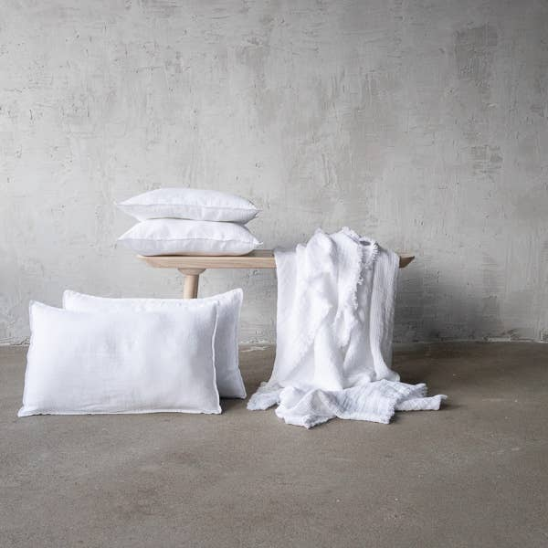 The Linen Optical White Stone Washed Cushion Cover from LinenMe are crafted from lightweight pure linen in a plain weave, and has a 1cm edging that provides definition and form. This is sure to bring a beautiful, magical night of sleep.   Ships from Lithunia in 33-47 days. Some things are worth the wait!   Machine washed. Tumble dried