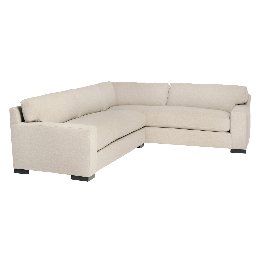 "Loft 2 Arm Slipcovered Sectional - Essentials - Amethyst Home Dimensions: 96""w x 29""h x 130""d  Seat Space: 79""w x 110""d x 20"" seat height Shown as a Left Arm Facing Sectional Available Slipcovered or Upholstered, and in other fabric colors"