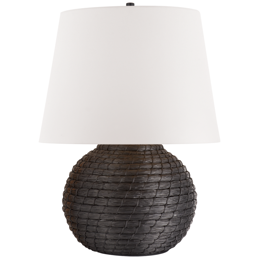 "We love how the Lohan Medium Table Lamp by Visual Comfort is wrapped with black rattan and topped with a white paper closed top   Height: 27"" Width: 21"" Base: 8.75"" Round"