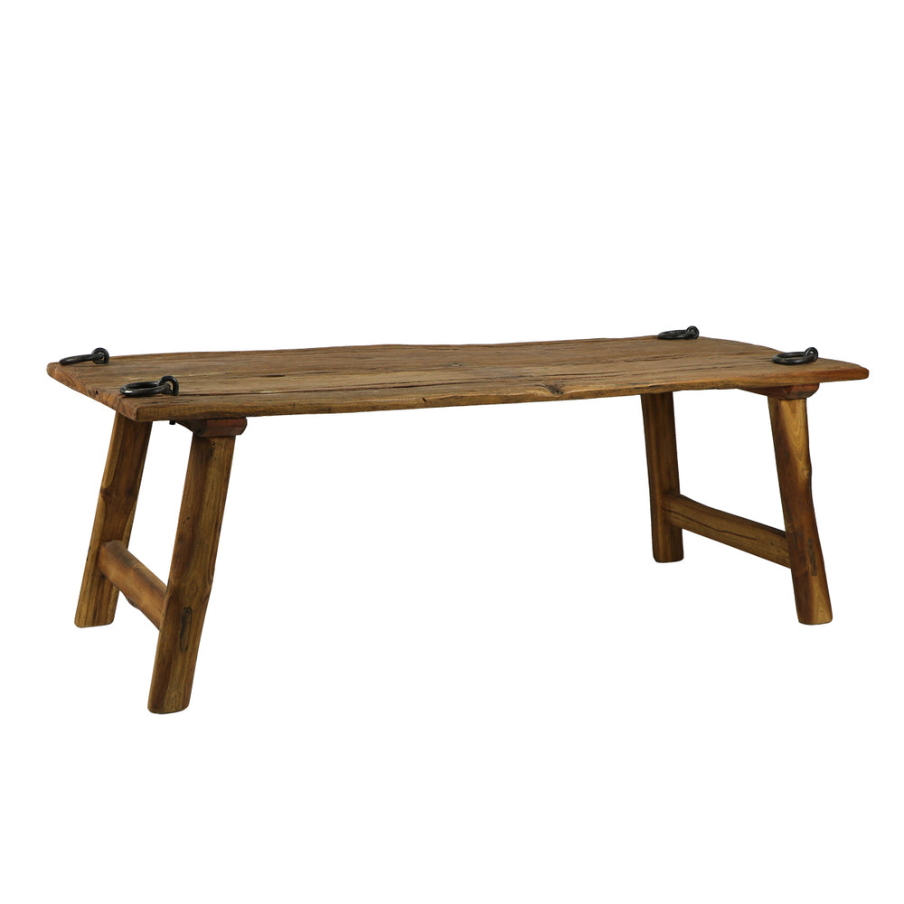 This beautifully hand-crafted teak wood coffee table would be a wonderful addition to any space! The four metal rings on each corner provide a unique twist as well. Each coffee table is hand-crafted and the finish will slightly vary.