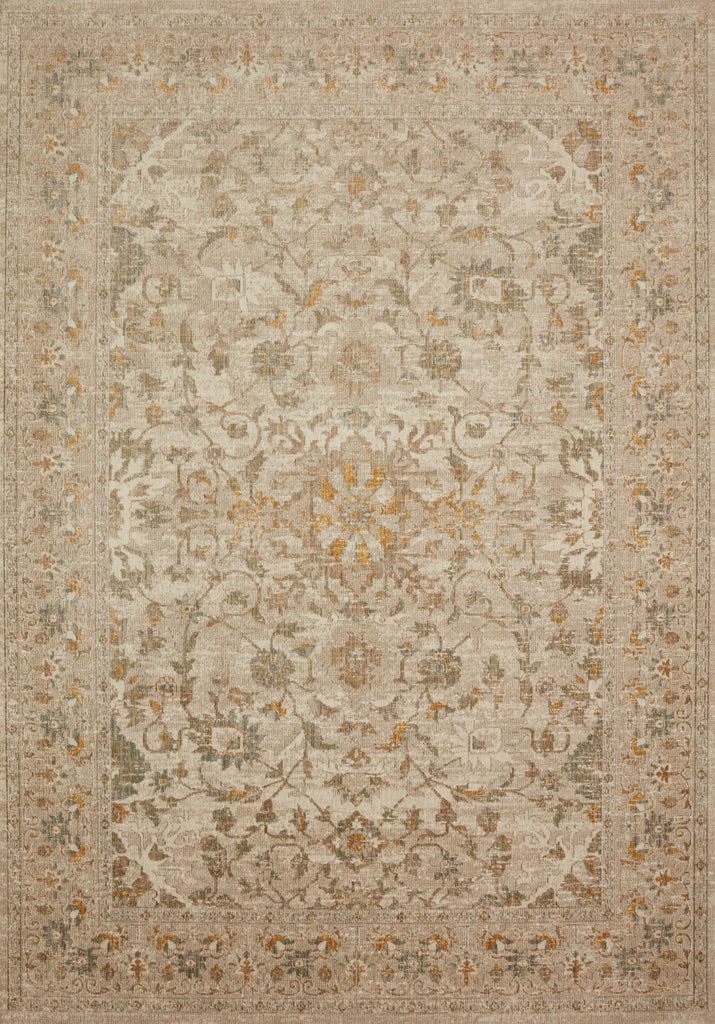 Durable, low pile, and soft, this rug is inspired by classic vintage and antique rugs. The Rosemarie Chris Loves Julia Ivory / Natural ROE-02 rug from Loloi features a beautiful vintage pattern and patina. The rug is easy to clean, never sheds, and perfect for living rooms, dining rooms, hallways, and kitchens!