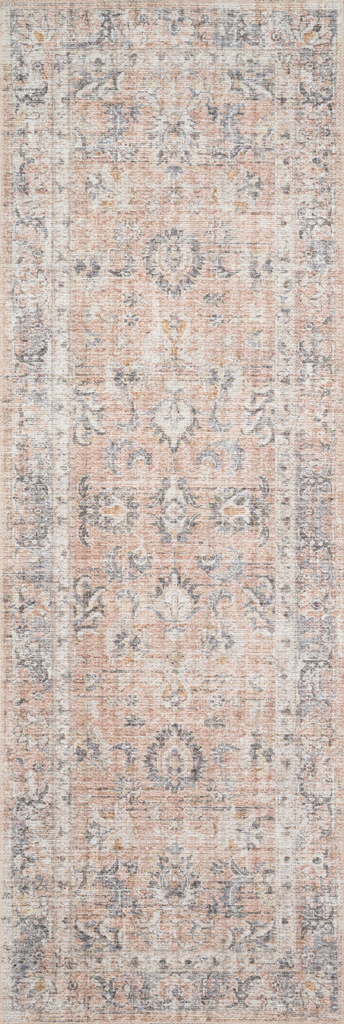 The Skye Blush/Grey SKY-01 area rug by Loloi, is timeless and classic with a beautiful, old-world design in tones of blush, grey, and ivory. Power-loomed of 100% polyester, this rug is great with families and pets. This rug is perfect for kitchens, dining rooms, entry ways, or anywhere high traffic. Amethyst Home provides interior design, new construction, custom furniture, and rugs for the Tampa, Winter Park, and Miami metro area.