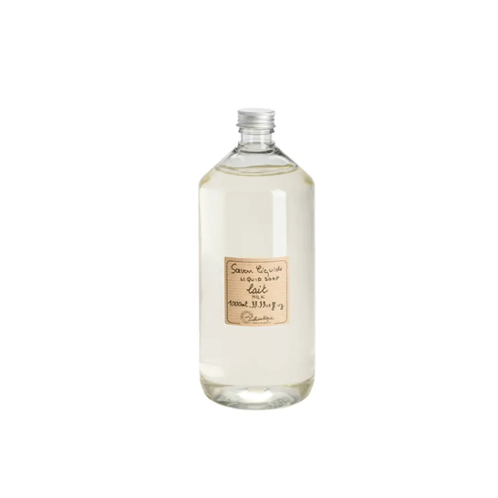 We love these French made, Marseille-style Lothantique Milk Liquid Soap Refill. They are vegetable based are great to refill your kitchen or bathroom soap holders. Sodium lauryl sulphate and paraben free!  1L. 33.33 us fluid oz. Plastic bottle.