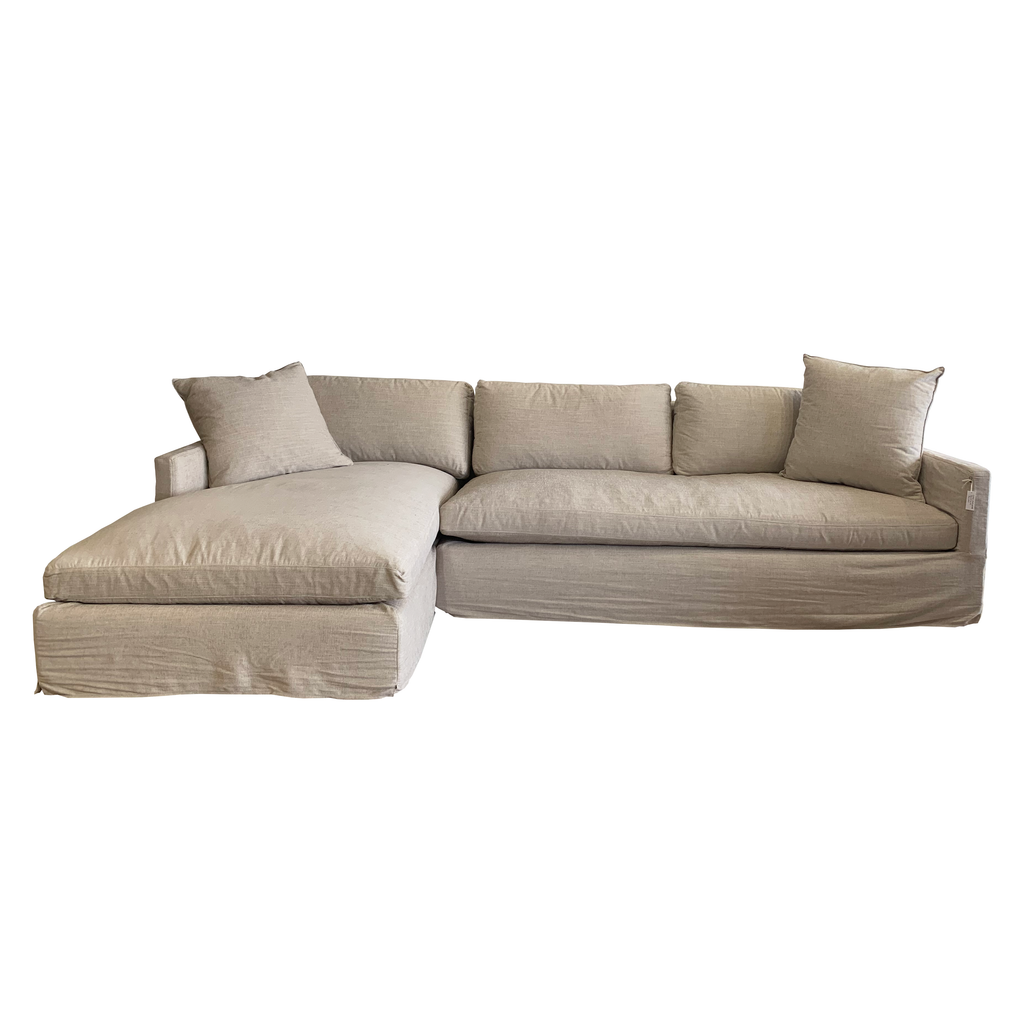 "Louis Slipcovered Sectional - Floor Model - Amethyst Home 121""w x 31""h x 68""d Seat Space: 81""w x 20""h x 54.5""d"