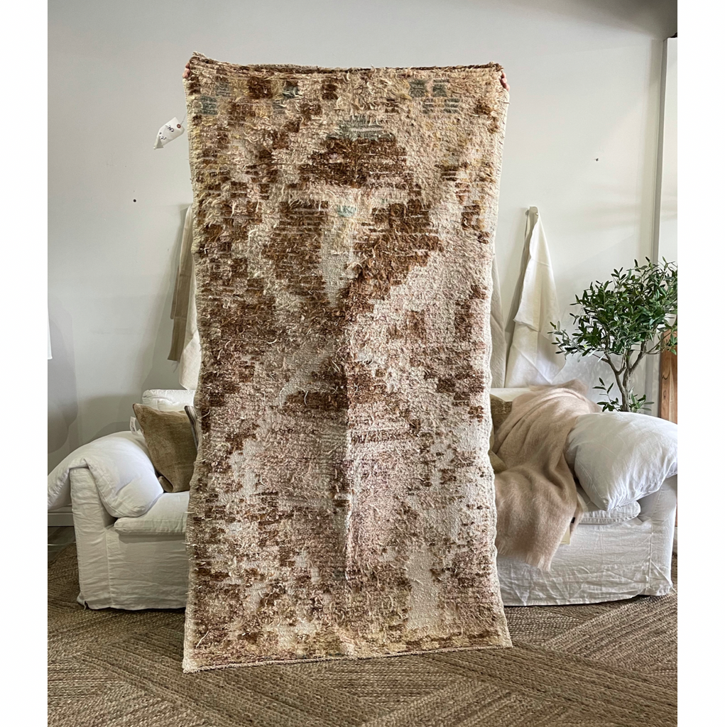 "We love the texture found in this Lydia Vintage Rug. This hand knotted vintage area rug is easy to care and maintain and will have very little shedding. The rug is a perfect fit for an entryway, bathroom, back door, laundry room, bedroom, or any other place!  Hand Knotted 100% Wool 3'9"" x 7'3"""