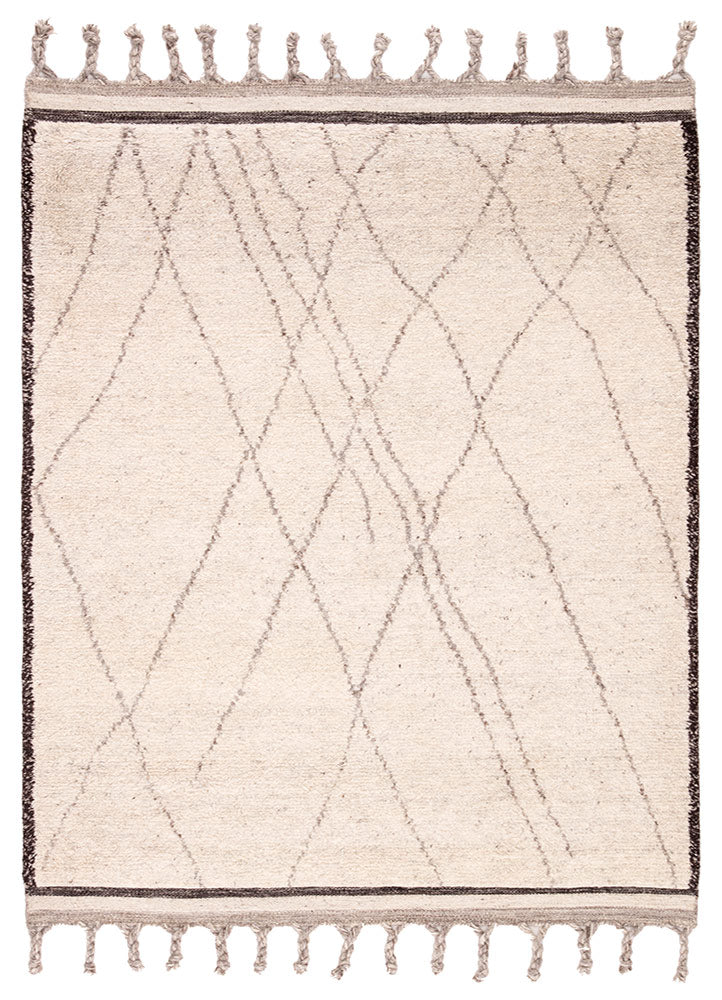 Simple and yet beautifully textured for a global vibe, the Mina collection features hand-crafted Moroccan designs. The hand-knotted Danforth area rug boasts an ivory, black, and gray colorway, authentic and shaggy wool pile, large braided tassels, and a classic tribal trellis for the perfect grounding piece in any modern space.  Hand-Knotted 100% Wool MIN02