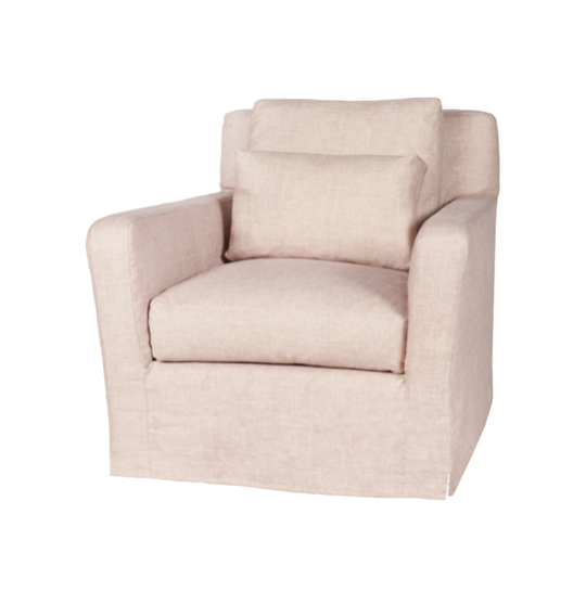 "This deep and low resting chair is one of our absolute favorites by Cisco Brothers!  As shown slipcovered in a similar fabric to Brevard Rose 100% linen.  33""w x 29""h x 39""d Seat Space: 22""w x 23""d x 18""h  Please allow 8-10 weeks for production as this piece is made just for you in Los Angeles, California!"