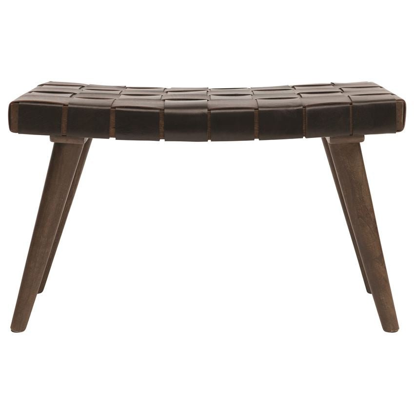 "We love the texture of the Mango Wood and Woven Leather Bench. This would like fabulous in your living room or entry way   Size: 29.5""w x 15.75""d x 17""h"