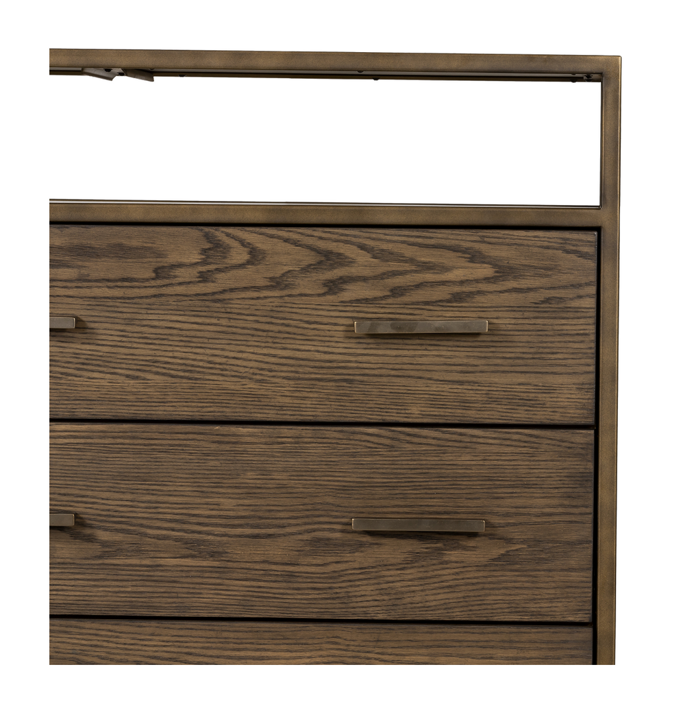 Rich hazel-finished oak dresser featuring six spacious drawers and top shelving framed by rubbed bronze iron, perfect for storing favorite jewelry and accessories.