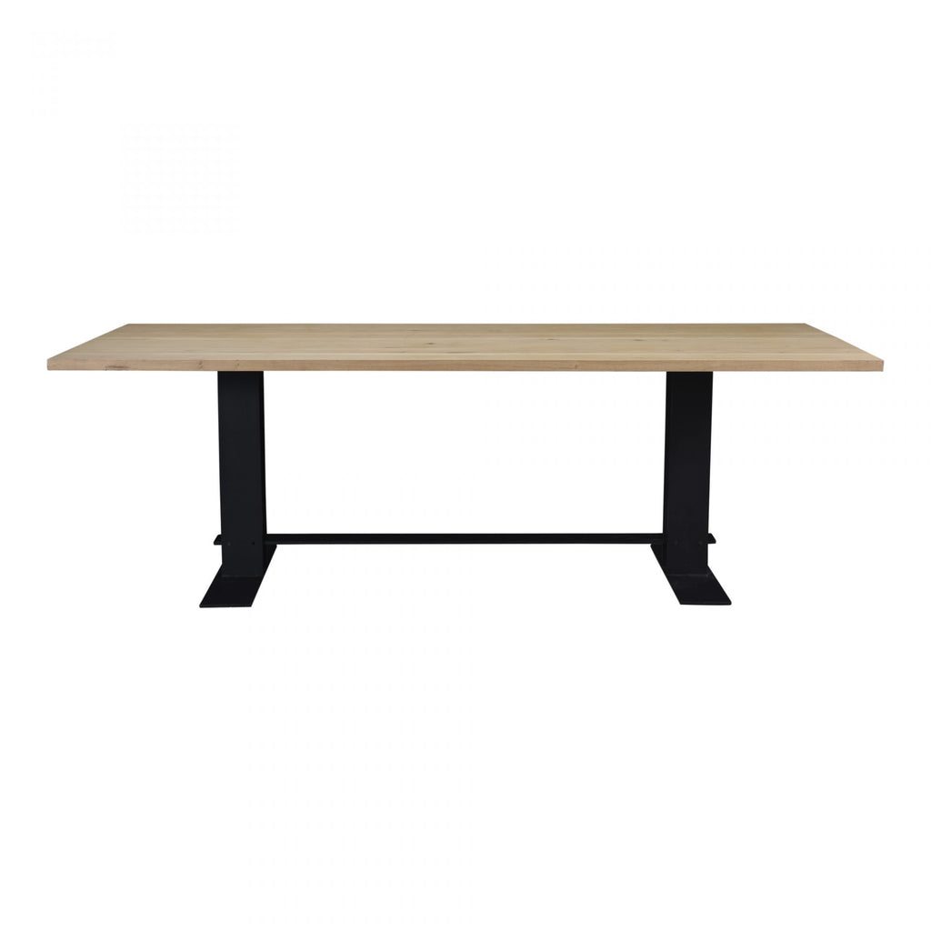 "Both large and beautiful, this Massimo Dining Table can sit up to eight people and is constructed from heavy iron and a solid oak top. A great choice for families going for a natural, rustic aesthetic   Size: 90""W x 39""D x 29""H Materials: Solid White Oak, Iron Base"