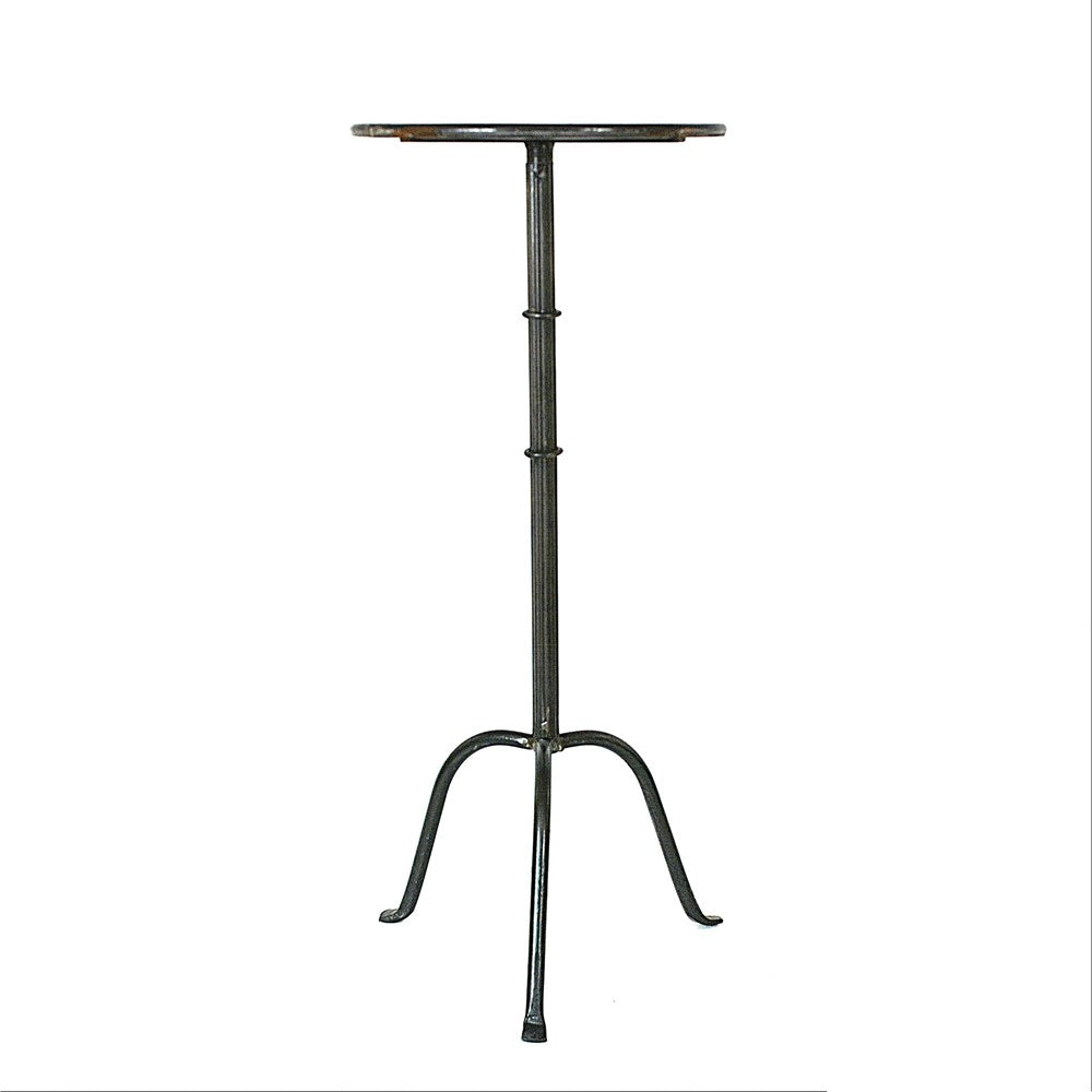 "This Metal Martini Table has a beautiful, thin black metal base. Use as a side table or place your favorite vase atop in any living room or entry way.   Size:  12.5"" Round x 27.75""H"