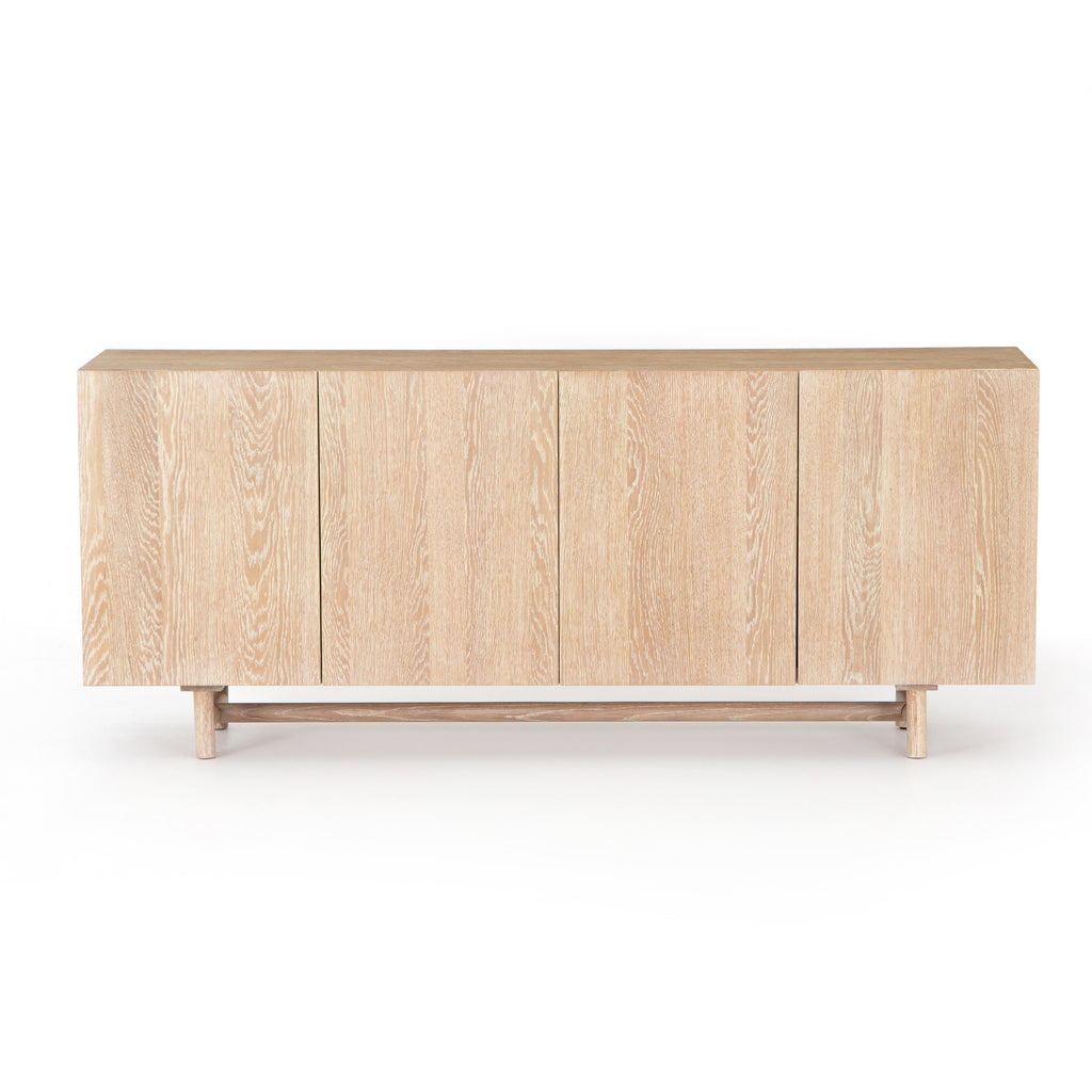 "We love the grained matte finish on this Mika Washed Oak Veneer Dining Sideboard. The shelves make this the perfect sideboard for a functional, modernly attractive piece to add to your dining room  Size:  72.00""w x 16.00""d x 30.00""h Materials: Oak Veneer"