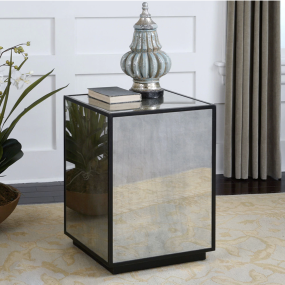 "We love the antique feel of this Mirror Side Table. Top with your favorite lamp or vase to complete the look for any bedroom, living room, or den area.   Overallsize : 25""h x 18""w x 18""d Materials: MDF, antique mirror"