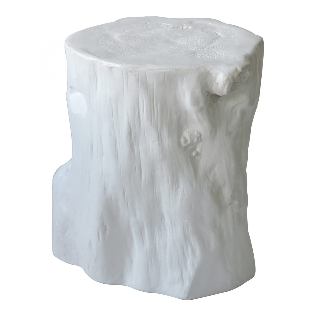 "We love the rustic appeal to this Log Antique White Stool. Place in your living room or double as a side table.   Size: 17.5""w x 17""d x 19""h Seat Height: 19""  Materials: Upholstery - Cement, Plaster"