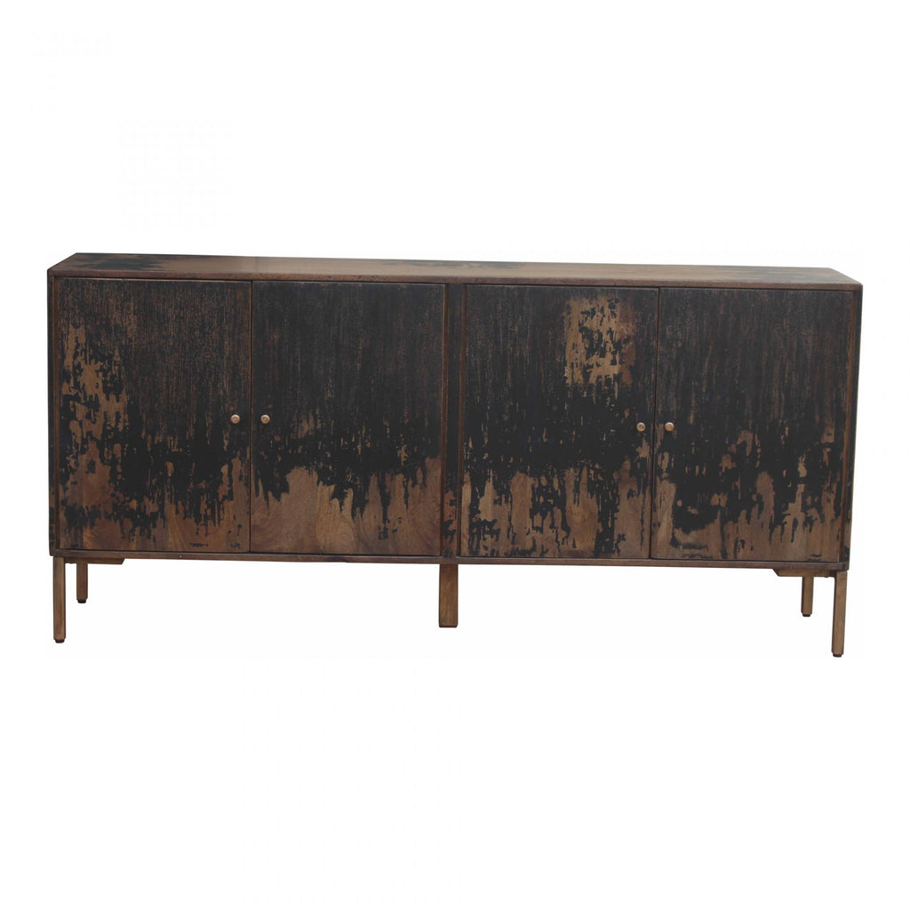 "The rustic look to this Artists Sideboard is extremely versatile, fitting both the industrial and farmhouse aesthetics. The golden knobs open to shelves, perfect for those families needing extra storage.   Size: 71""W x 16""D x 33.5""H Material: Solid Mango, Iron Legs"