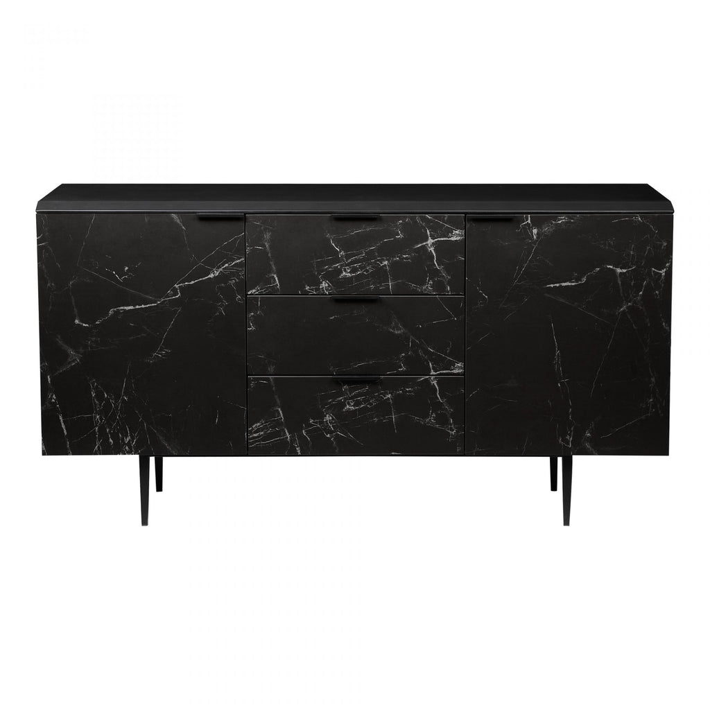 "We love the sleek, dark look of the marbled ceramic face and thin dark legs. With both drawers and shelving, this is stunning and functional choice for any dining room, living room, or other area needing extra storage.  Size: 63""W x 15.5""D x 33.5""H Material: Ceramic Marble Doors, Solid Aluminum Legs, MDF"