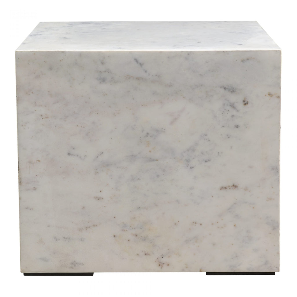 "The stunning Nash Side Table is made from pure white marble stone and MDF. The perfect statement side table for any living room or bedroom Size: 18""w x 18""d x 16""h Materials: Kailashpri White Marble, MDF"