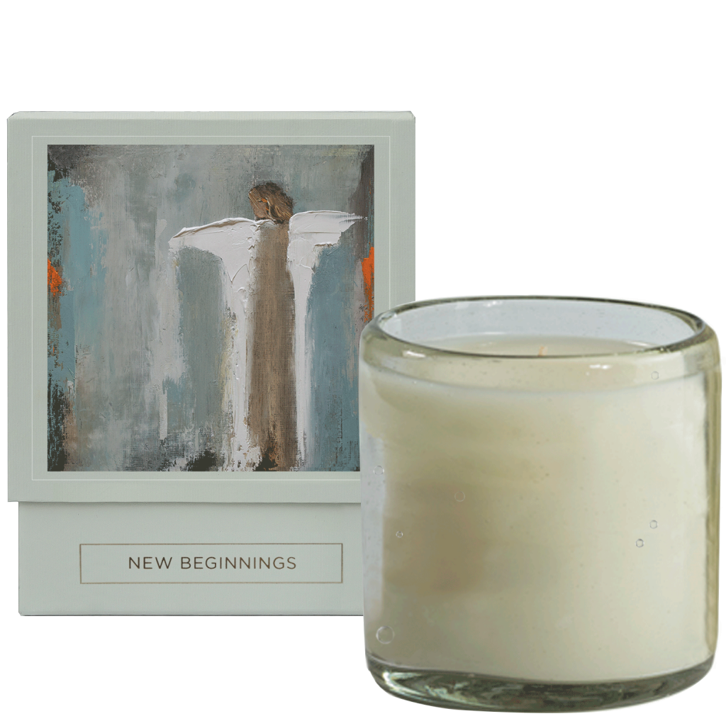 New to Amethyst Home, the New Beginnings Anne Neilson Home luxury, soy-blend candle is hand-poured into a keepsake, artisan glass that can be collected and reused. This candle has a burn time of eighty hours and features fragrances of mandarin, orange, and lily of the valley. The packaging for the candle showcases an Angel image and with corresponding matches.