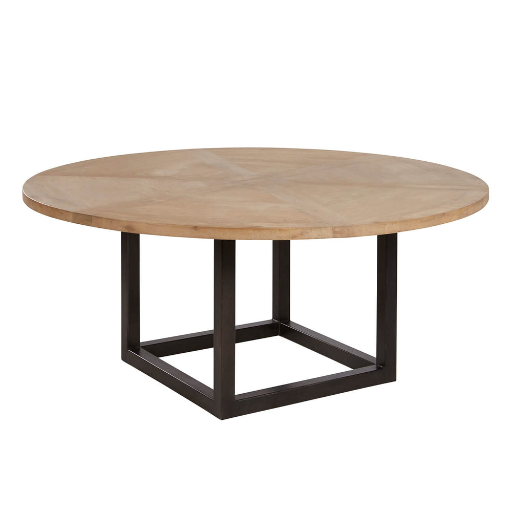 "Geometric dining table with reclaimed wooden top. Please note, reclaimed wood has natural features such as cracks, blemishes, knots which provide each finished piece of furniture with a distinct and unique look.  Size: 72""w x 72""d x 31""h"