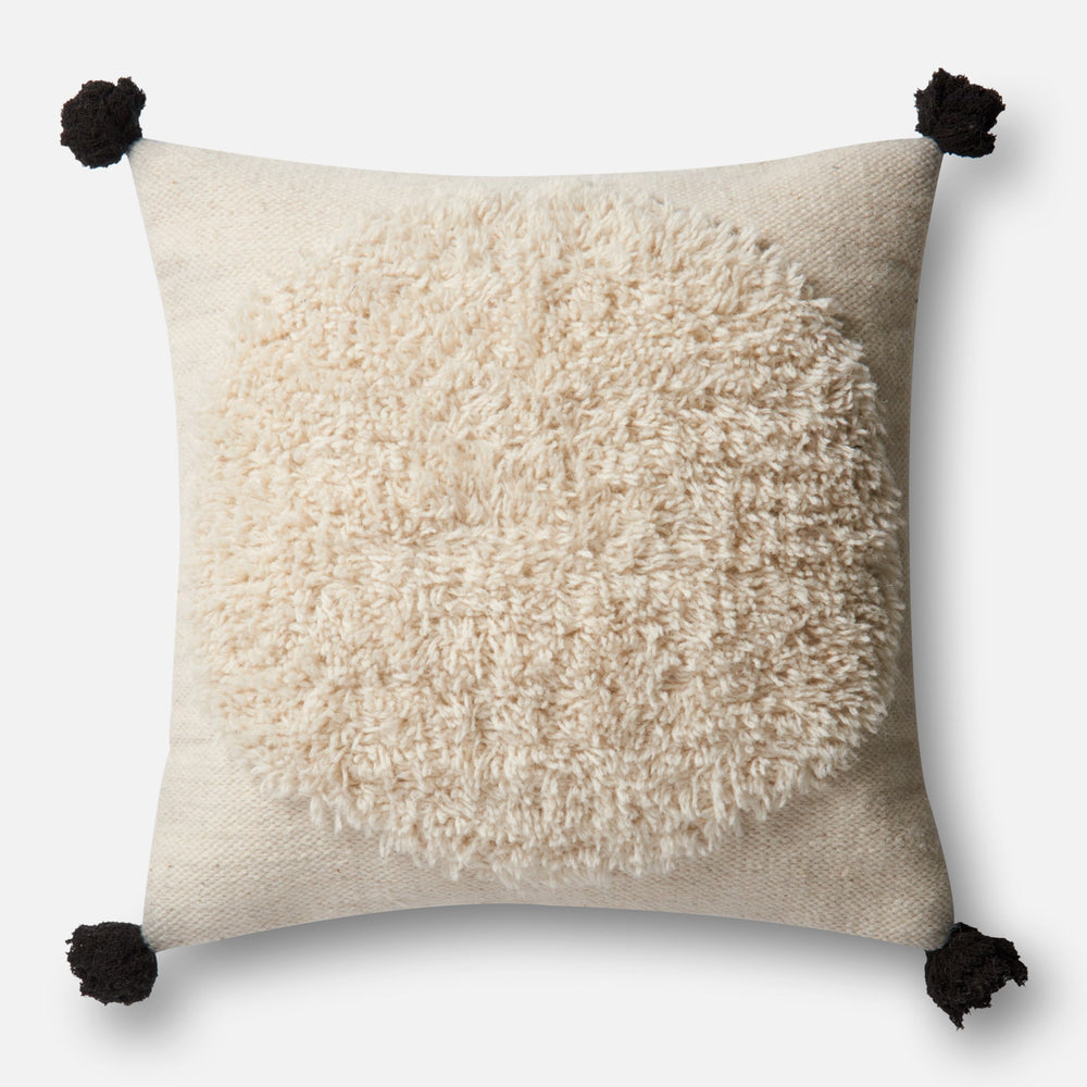 "The Ario Pillow is 100% made from wool to give this a fun and soft texture with a down insert. Dry clean only.  Size:  22""w x 22""h"