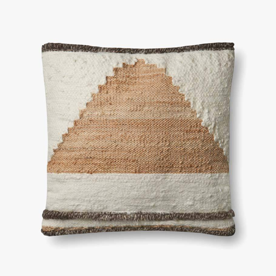 "Gorgeous ivory, tan, and brown colors blend with this 100% wool pillow. This pillow is a natural fit on a sofa, accent chair, or bed with the soft down fill insert.  Size: 22""w x 22""h  P4052 ED Multi"