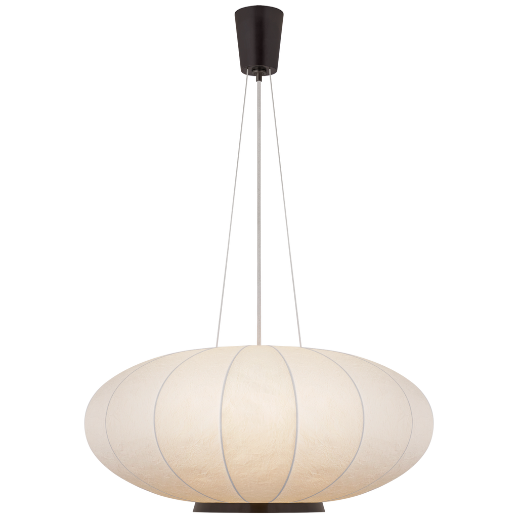 We love the circular shape of the Paper Moon Large Hanging Shade by Visual Comfort. Place over your dining room, living room, or other large area to give it a boho aesthetic.   Designer: Barbara Barry