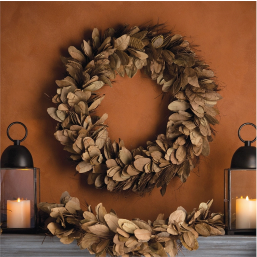 "This Pear Tree Leaves and Thatch Wreath is made with dried leaves and dyed a warm, rich color. It is the perfect center piece, wall decor, or door wreath to bring all the fall vibes to your home  Size: 24"" x 5.75"" x 24"""