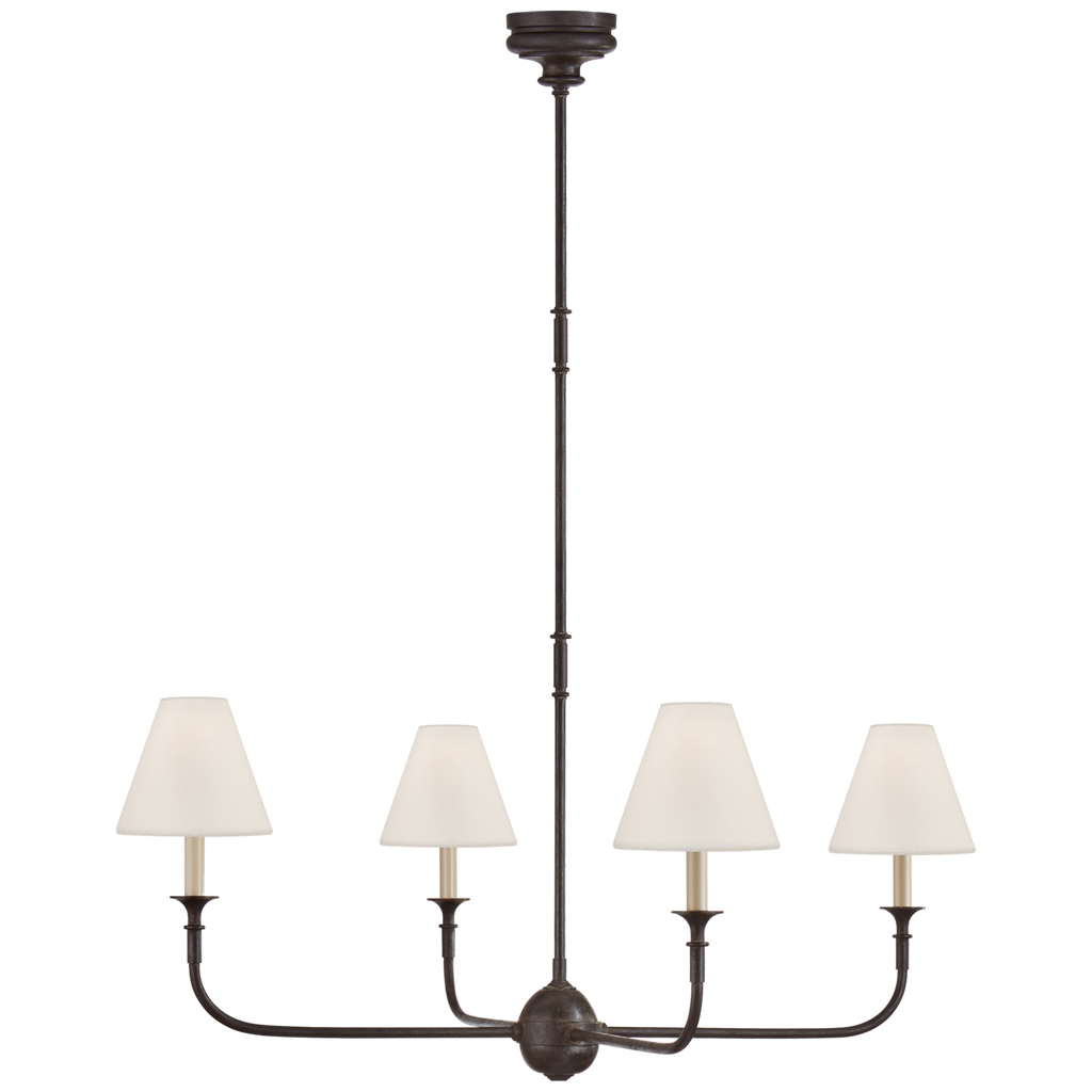 "This Piaf Aged Iron and Ebonized Oak Large Chandelier has linen shades and brings a warm, classic look to any large area  Overall Height: 56.75"" Minimum Height: 22.75"" Width: 39.25"" Canopy: 4.75"" Round"