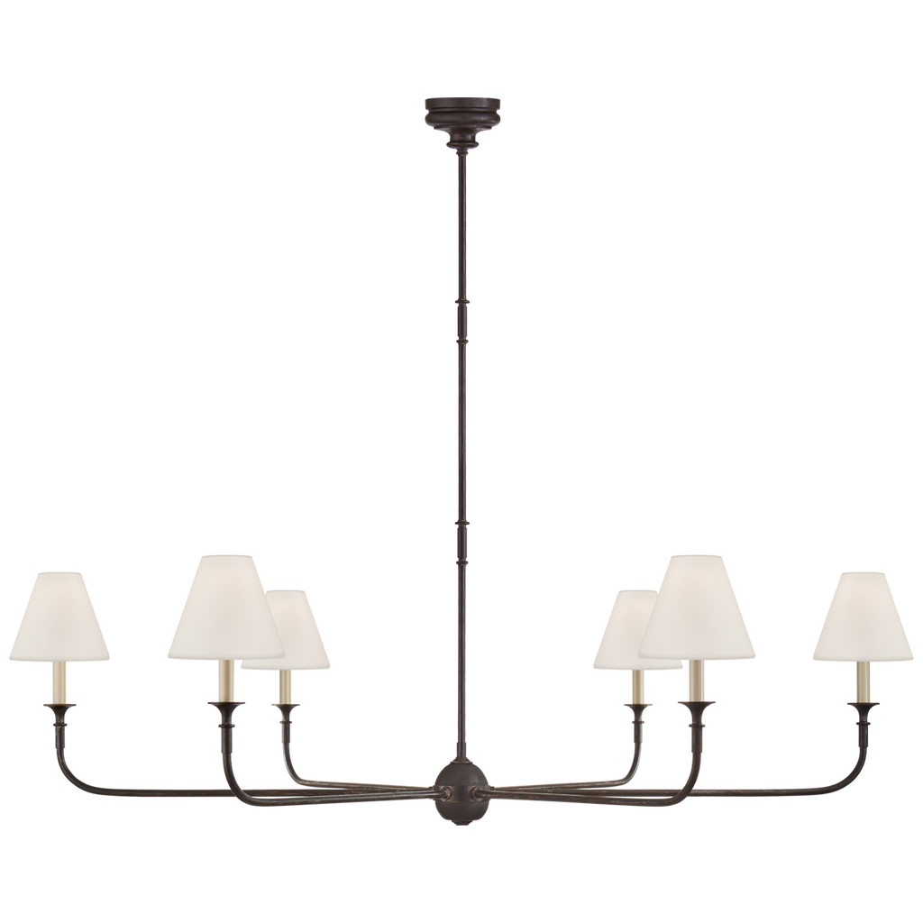 "This Piaf Grande Chandelier from Visual Comfort has linen shades and brings a warm, classic look to any entry way, living room, or other large area. The chandelier comes in two colors, the first is ""Aged Iron and Ebonized Oak"" and the second is ""Swedish Grey""."