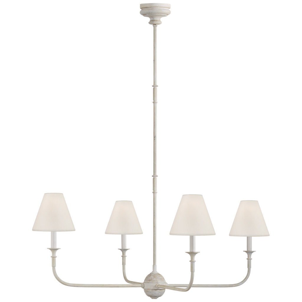 "This Piaf Swedish Gray Large Chandelier has linen shades and brings a warm, classic look to any large area  Overall Height: 56.75"" Minimum Height: 22.75"" Width: 39.25"" Canopy: 4.75"" Round"