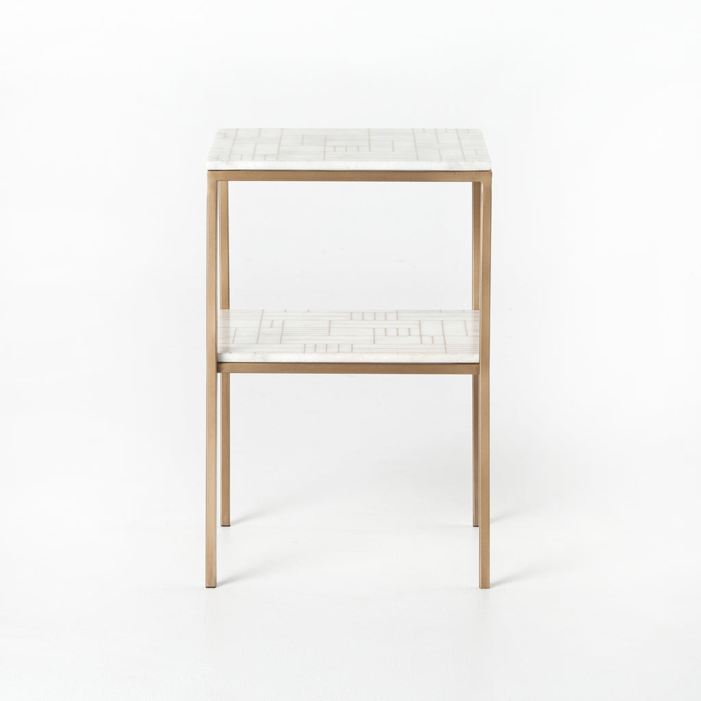 "We love the two tiers and slim, strong legs of this Piet Antique Brass Marble Nightstand. The marble top has a gorgeous pattern that gives your space an elegant, unique feel.  Size:  16.00""w x 16.00""d x 24.00""h Materials: Stainless Steel, Marble"