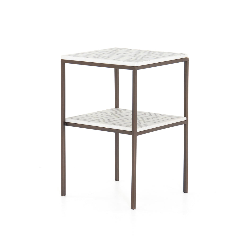 "We love the two tiers and slim, strong legs of this Piet Bronze Marble Nightstand. The marble top has a gorgeous pattern that gives your space an elegant, unique feel.   Size:  16.00""w x 16.00""d x 24.75""h Materials: Stainless Steel, Marble"