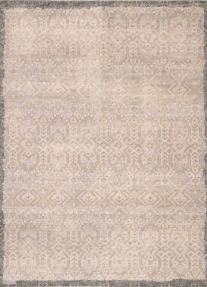 The Revolution collection is inspired by traditional style and beautifully detailed antique textile designs. The hand-knotted Prospect area rug showcases a captivating geometric design in muted tones of gray and gold. A charcoal edge creates a unique border effect around this globally inspired wool rug.  Hand-Knotted 100% Wool REL10