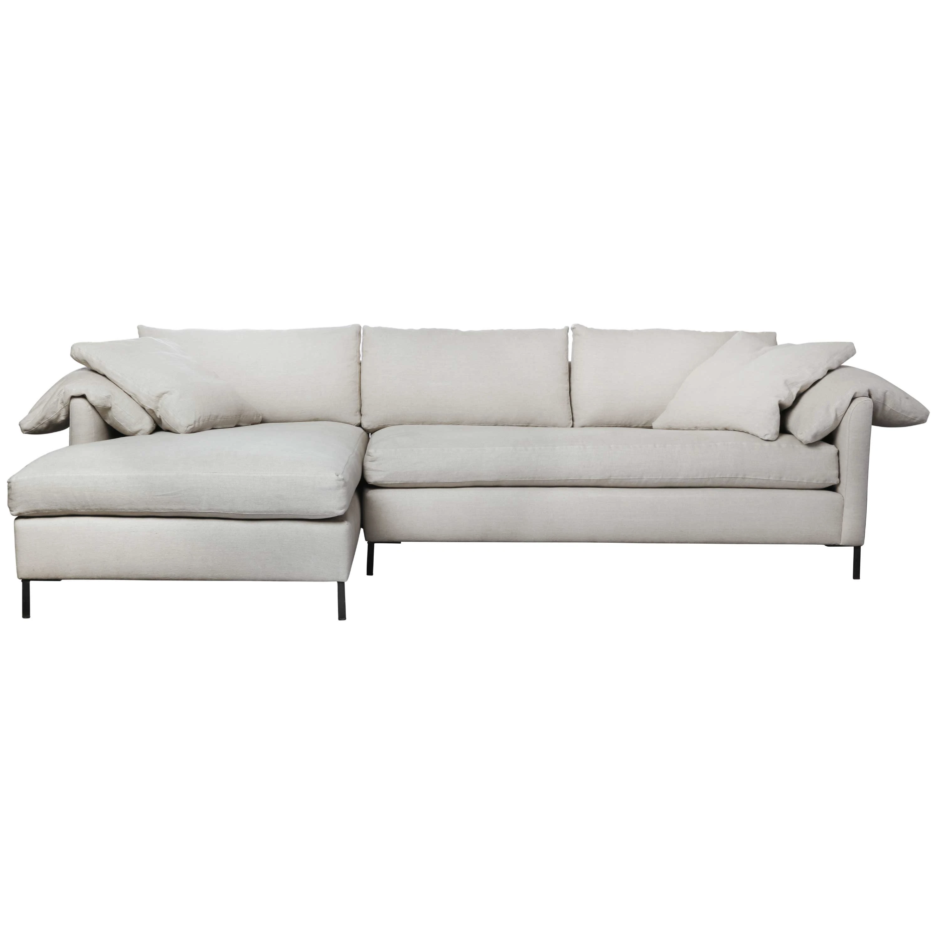 """Always a stunner, the Cisco Brothers Radley Sectional, photographed in a medium weight linen is show in a left-arm facing sectional with metal feet. Additional fabrics, custom sizes, and prices are available via emailing us at sales@amethysthome.com.  Size:  120""""w x 63""""d x 30""""h  Seat space:  115""""w x 49""""d x 20""""h"""