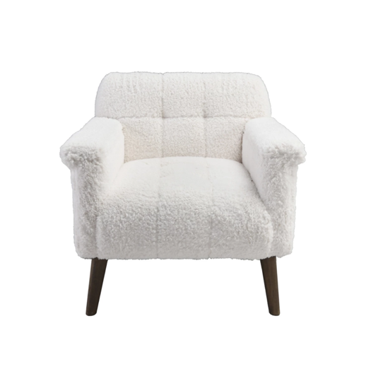 With its fleece-like, tufted upholstery, this chair infuses dimension, texture, and comfort into any space.  31W X 32D X 31H Pine Wood Legs