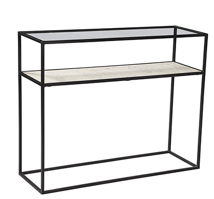 "The Ramos Console Table has a thin iron glass frame with a gorgeous marble shelf. This brings a sleek element to any entryway or living room.  IRON WITH GLASS AND MARBLE GUN METAL FINISH FLAT POLISHED GLASS INDIA Size: 42""l x 12""d x 32"" h"