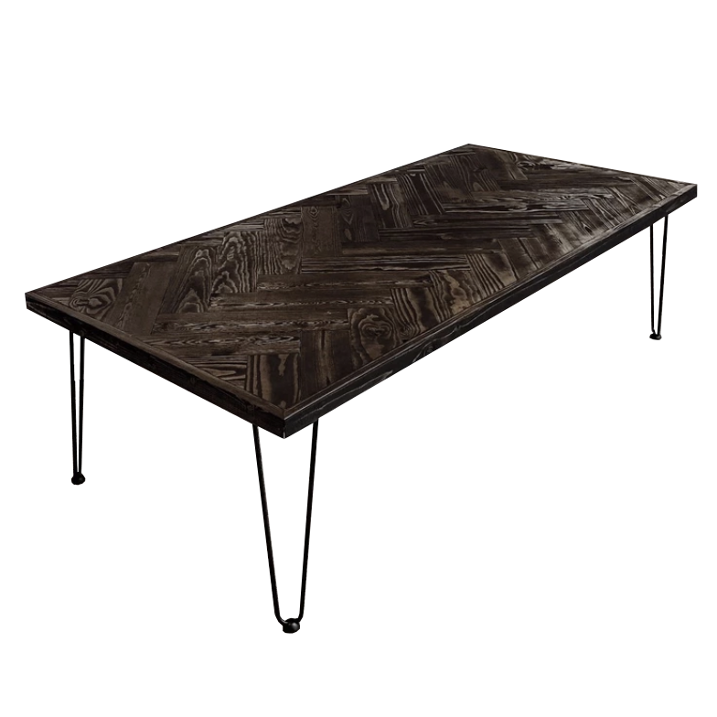 Black Herringbone Coffee Table - Amethyst Home