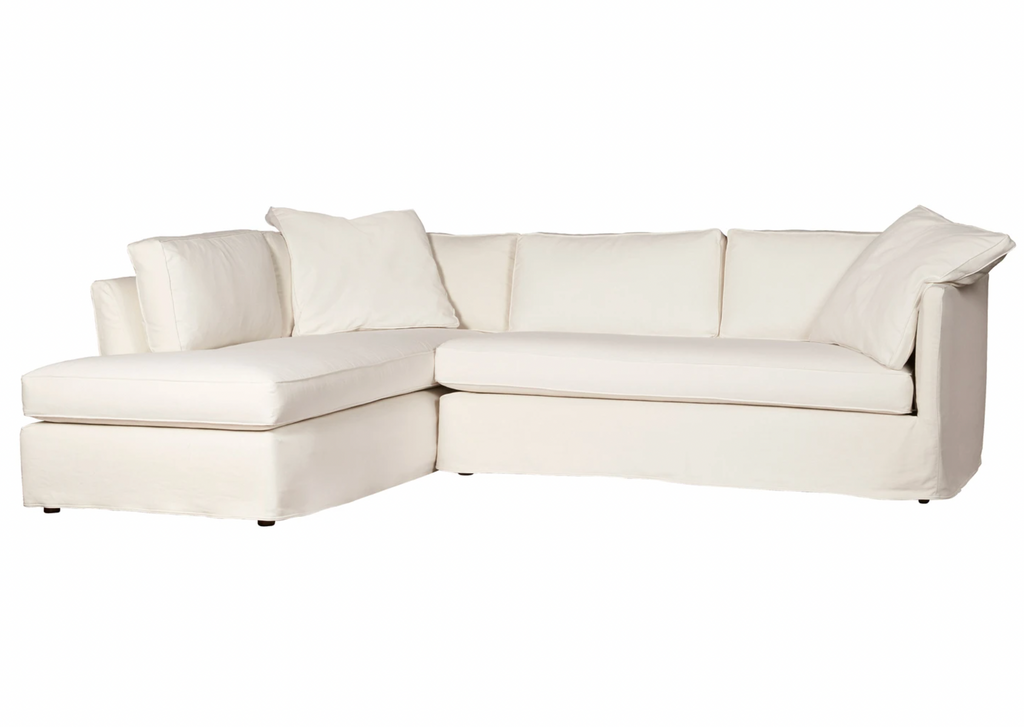 "The Renata 2pc Slipcovered Sectional- Custom has clean lines and a soft back.  It has a modern essence and elegance that lends inviting appeal to your seating ensemble in your living room or den.   Overall: 111""w x 90""d x 30""h"