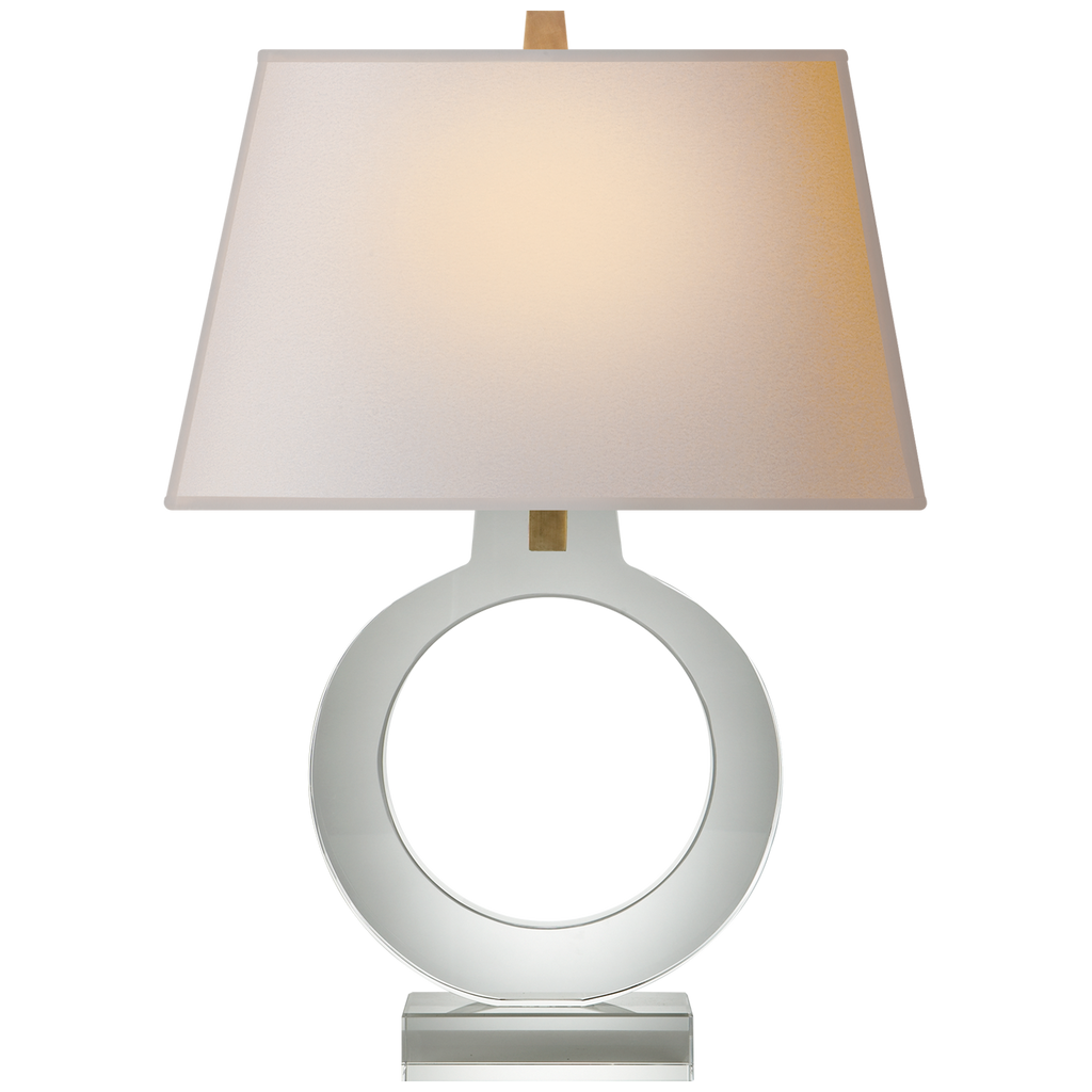 This Ring Form Large Table Lamp features a dimmer lighting, making it a chic and sophisticated choice for your bedroom, living room, or other area needing extra light  Designer: E. F. Chapman