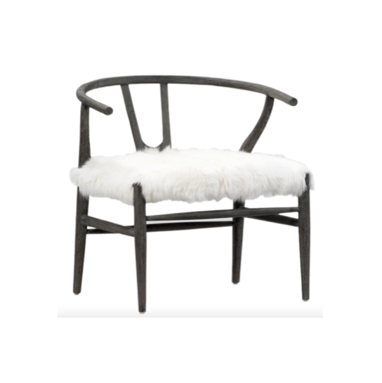 "Dramatic and bold, this chair is perfect for adding fun style to your space.   OAK FRAME WITH GOAT FUR SEAT DARK GREY FRAME WITH TRACE OF WHITE FINISH 27""l x 25""d x 2""h"