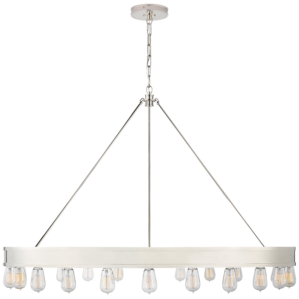 "We love that the bulbs of this Tozz 50"" Modular Ring Chandelier can go upward or downward. Large in size, this adds an industrial feel to any living room, entry way, or other large area"