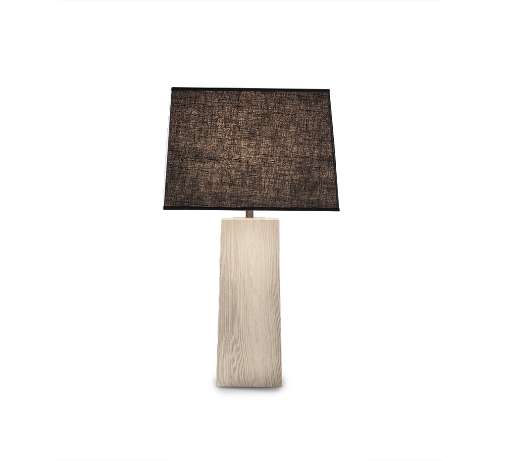 "The Rome Table Lamp is crafted from sustainably harvested hardwood by Verellen in North Carolina. The charcoal shade matched with the ash body brings a modern, minimalist look to any room Base: 8""w x 20""h Overall Height: 35""h"