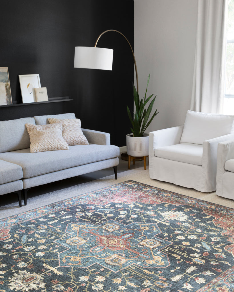 The Skye rug collection from Loloi is timeless and classic with a beautiful, old-world design. Power-loomed of 100% polyester, the Skye Denim / Brick area rug, also known as SKY-08, provides the textured effect of high-end rugs at an affordable price in beautiful colors of denim, brick, gold, and ivory.