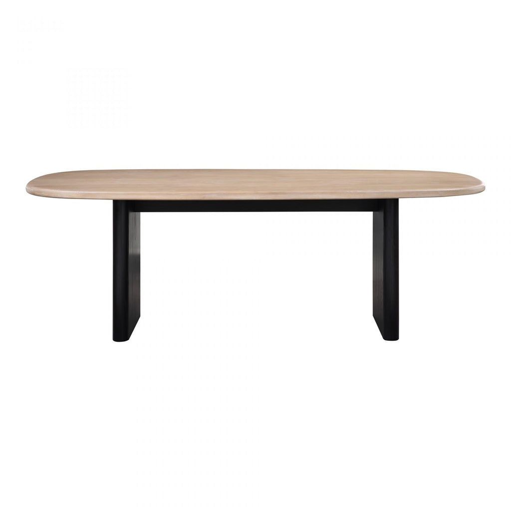 "Made from solid Ash wood, this naturally finished Sakurai Dining Table has a black base giving it a contemporary look. An amazing choice to modernize your dining room.   Size: 88""W x 42""D x 30""H"
